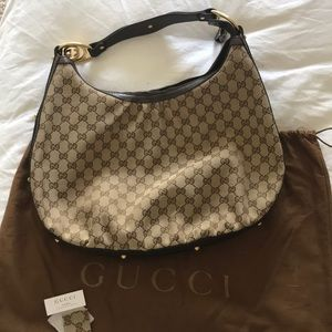 Gucci monogram interlocking Canvas hobo handbag